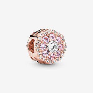 ♉Pandora  Pink Sparkle Flower Charm